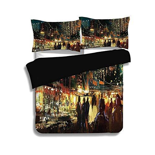 Schwarzer Bettwäschesatz, Nacht, Gemälde von Shopping Street City mit farbenfrohen abstrakten Pinselstrichen Kunst dekorativ, mehrfarbig, dekorativ 3-teiliges Bettwäscheset von 2 Pillow Shams, QUEEN /