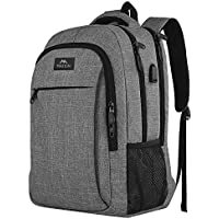MATEIN Travel Laptop Backpack, Business Backpack Work Bag with USB Charging Port, Anti Theft Lightweight Laptop Bag, Water Resistant School Rucksack for Women Men, Fits 15.6 Inch Laptop-Grey