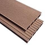 Wasserabweisend WPC Terrassendielen mit Zubehör 16M22,2m Braun/Outdoor-Schutz Bodenbelag Mats