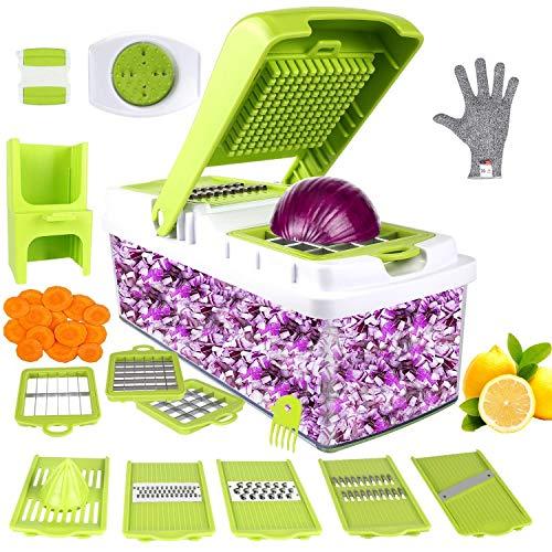 ONSON Gemüseschneider, Gemüsehobel 10 in 1 Veggie-Schneidemaschine Manuelle Mandoline ,Zwiebelschneider Dicer für Knoblauch, Kohl, Karotten, Kartoffeln, Tomaten, Obst, Salat