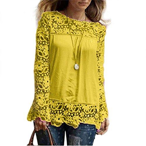 AMUSTER Moda Donna Sciolto Cotone Top T Shirt Manica Lunga Camicia Camicetta Di Pizzo Casual Giallo