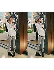 &zhou Las mujeres invierno falsificación dos moda leggings nueve pieza falda , gray , one size