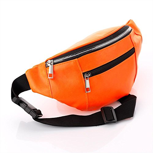 Neon Orange Leather Look Coloured Hip Belt Bum Bag