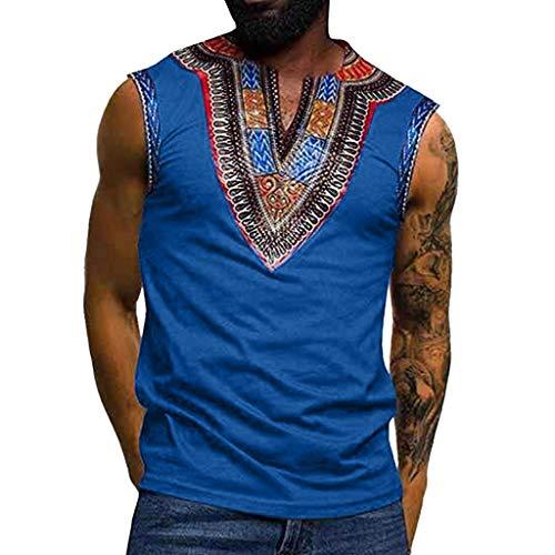 Schnitt Ärmelloses Shirt (Tyoby Herren Weste Mode Traditionelles Drucken Ethno-Stil Ärmelloses Oberteil Retro Herrenbekleidung Schnitt Tops(Blau,M))