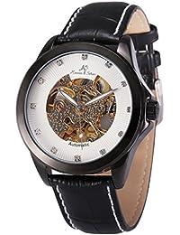 4ef87215a6c KS Relojes de Pulsera Hombre Mecánico Esqueleto Automático con Correa de Cuero  Negro KS102