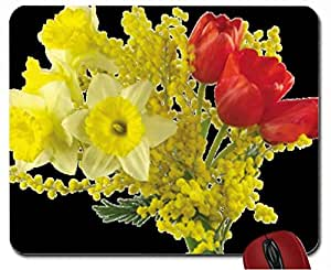 Red Tulips,Mimosa,Daffodils(Bouquet) mouse pad computer mousepad