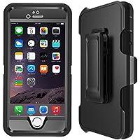 IPhone 6, Heavy Duty Defender LongRise Custodia per iPhone 6, con ID Touch proteggi-schermo integrato, Gomma, nero, iphone 6 /6s 4.7inch