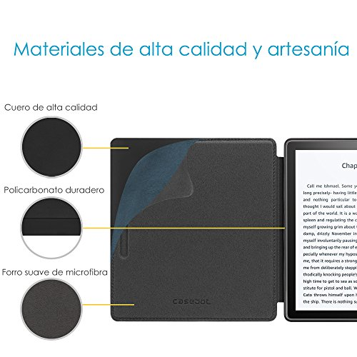 CASEBOT Funda para Kindle Oasis (2019/2017, 10.ª y 9.ª Generación) - Carcasa de Cuero Genuino, Negro
