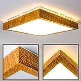 LED Deckenstrahler eckig in Holz-Optik – Badezimmer-Lampe Sora Wood – warmweißes Deckenlicht 1380 Lumen – 18 Watt – 3000 Kelvin – eckige, 1-flammige Zimmerleuchte auch für Küche, Flur, Wohnzimmer