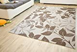 In- und Outdoor Teppich Gotland Design Blumen Beige Braun Webteppich Gut Siegel, Größe: 120x170 cm