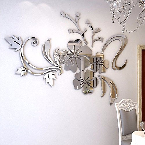 3D Spiegel Blumenkunst Entfernbare Wandaufkleber Acryl Wandtattoo Home Room Decor (Silber)
