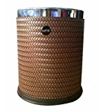Bathla Leather and Plastic Waste Bin, Brown