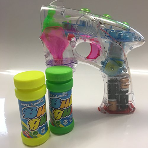 Carpeta® - Große LED Seifenblasen Pistole + 2 Flaschen + LED Licht ┃ Mitgebsel ┃ Kindergeburtstag ┃ Kinder lieben dieses Bubble Gun Spiel & Spaß