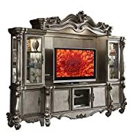 Benjara Wood and Glass Entertainment Center with Two Piers, Silver