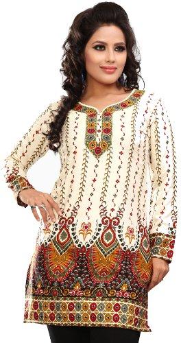 Frauen indischen Kurti Top Tunika Bluse Bedruckte Indien Kleidung (Elfenbein, L) (Tunika Kurti Shirt)
