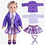 Momola Our Generation 18 inch American Girl Doll Clothing Set 4Pcs Student Pleated Skirt+Coat+Shirt+Tie School Uniform, Dolls Outfits, Girls Pretend Play Toy Gifts (Purple)