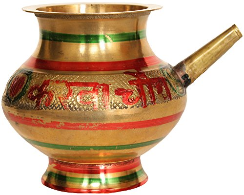 Exotic India Karva Chauth Ritual Kettle (Sada Suhagan Raho Written on Reverse - Brass Statue