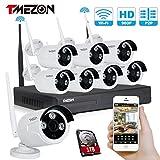 Tmezon 8 canales HD 720P Inalámbrico Sistema de cámaras de seguridad de la vigilancia,8x1.3mp 960P...