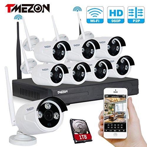 Tmezon 8 canales HD 720P Inalámbrico Sistema de cámaras de seguridad de la vigilancia,8x1.3mp 960P del IP de Wifi Wireless cámara al aire libre Kit de NVR Grabador Asistencia para el smartphone monitor remoto,1TB disco duro
