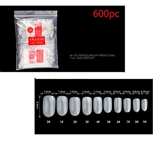 Nail Art Accessoires Professionnel, Kolylong Faux Ongles Box 600pcs Blanc Clair Naturel Faux FrançAis Acrylique Nail Art Conseils Gel UV Diy Kit Deco (C)