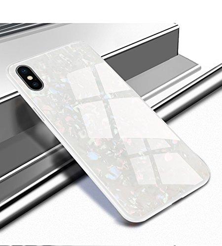 Ostop Glitzer Muschel Muster Hülle für iPhone XS Max,Glänzend Ultra Dünn Handyhülle Glatt Gehärtetes Glas Zurück Hartschale Weich TPU Stoßstange Fall Stoßfest Ganzkörper Schutzhülle-Weiß