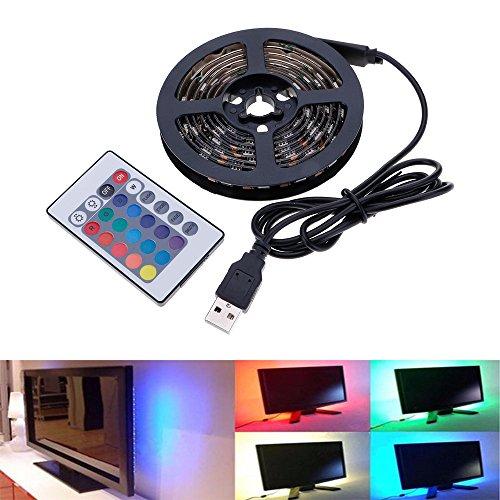 HuntGold Tira de luz,60Leds RGB 5050 Multicolor Leds Impermeable y con 24 Control Remoto para HDTV, Laptop, Pantalla LCD, bicicleta, Sobremesa, Dormitorio -- 2M