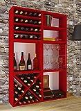 VCM Wein Regalserie Regal Weinregal Weinschrank Weinflaschen Schrank Holz Würfel Flaschen Rot 52 x 52 x 25 cm 'Weino'