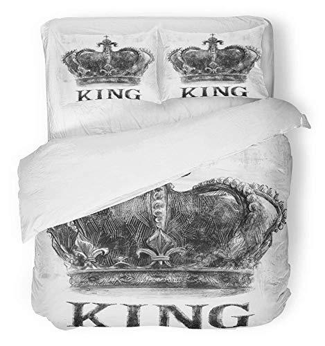 LnimioAOX 3 Stück Bettbezug Set atmungsaktiv gebürstetem Mikrofaser Stoff Rock King Crown Tee Musik Grafik Retro Vintage Varsity Slogan Queen Star Bettwäsche Set mit 2 vollen Kissenbezügen -
