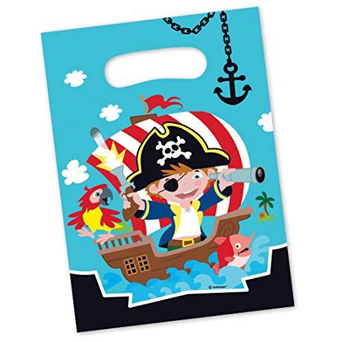 NET TOYS 8 farbenfrohe Mitgebsel-Tüten Pirat   ca. 16 x 23 cm   Schöne Party-Deko Geschenktüten Piratenparty geeignet für Geburtstagsfeier für Jungen & Kinderfest
