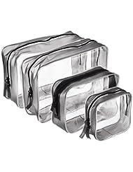 4 Stück Transparent PVC Kulturbeutel mit Reißverschluss Wasserdichte Kosmetische Make-up Tasche Kosmetiktasche, Multi-Größen (Klein, Medium, Groß)