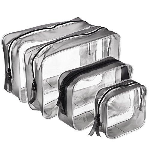 4 pezzi borse da toilette trasparente in pvc cerniera sacchetto impermeabile cosmetici trucco portatrucchi pochette da toletta organizer, multi-dimensioni (piccolo, medio, grande)
