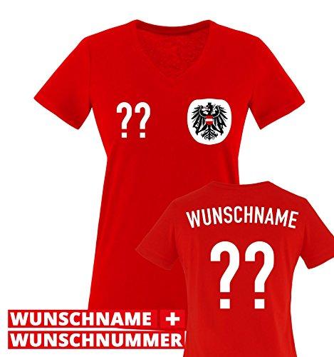 Trikot - at - WUNSCHDRUCK - Damen V-Neck T-Shirt - Rot/Weiss-Schwarz Gr. S