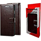 Designer Hub Nokia 6.1 (Nokia 6 2018) Flip Flap Cover Case with Stand/Wallet/Card Holder (Coffee Brown)