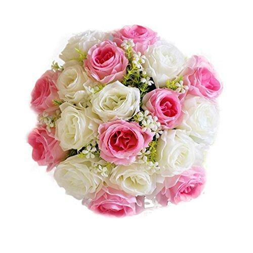 TPulling 18Head Verfeinerung Künstliche Blumen Brautstrauß Seide Rosen Rose Home Hochzeit Dekor (I)