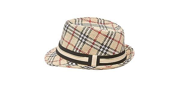 2cf86a04609de Sophias Style Unisex Junior Adult Grosgrain Ribbon Plaid Fedora Summer Hat   Amazon.in  Clothing   Accessories
