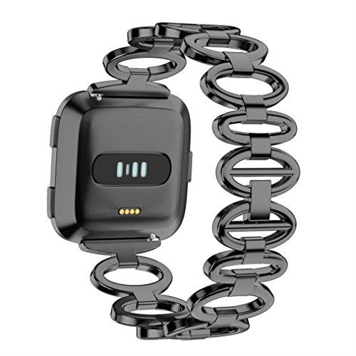 Preisvergleich Produktbild YUYOUG_watch strap yuyoug Edelstahl Gans Ei-Stil Kette Stil Armband Smart Watch Band Metall Armband Ersatz Sport Band für Fitbit Versa,  Schwarz