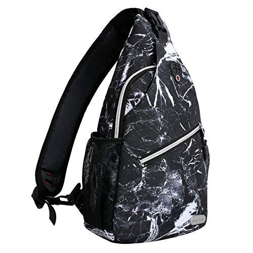 MOSISO Seil Brusttasche Sling Rucksack Schultertasche (Bis zu 13 Zoll), Polyester Crossbody Umhängetasche Kompatibel Männer Frauen Mädchen Jungen, Schwarzer Marmor