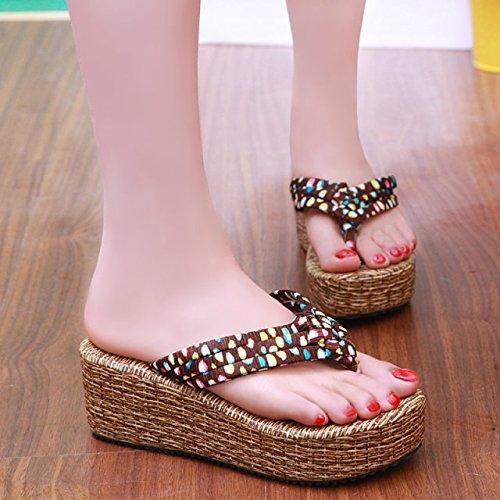 Muffin Épaisse Bottom Plage Chaussures À Ses Loisirs Moderne Minimaliste Fashion Femmes Sandales En Été, Lady Sandales, Dames Sandales Brown