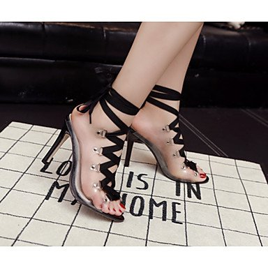 pwne Frauen Heels Sommer Gladiator Pigskin Party & Amp; Abendkleid Stiletto Heel Schwarz US8 / EU39 / UK6 / CN39