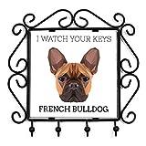 Französische Bulldogge, Schlüsselaufhänger mit einem Bild eines Hundes, geometrische Sammlung