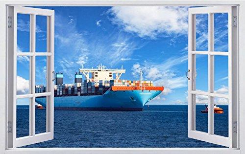 Containerschiff Meer Wandtattoo Wandsticker Wandaufkleber F0495 Größe 70 cm x 110 cm