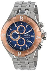 Invicta Men's Quartz Watch with Blue Dial Chronograph Display and Silver Stainless Steel Bracelet 12355