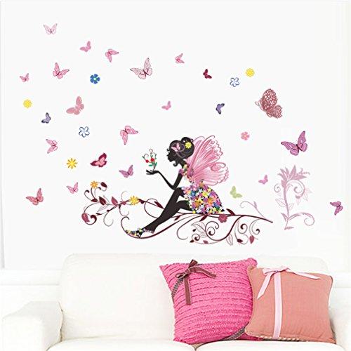 SATCL Sticker mural en vinyle pour chambre de petite fille motif fleur, fée, et papillons