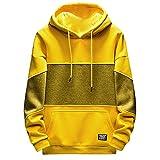 NINGSANJIN Herren Pullover Kapuzenpullover Hoodie Kapuzenpullover Pullover, Longsleeve Sweater Sweatshirt Pulli (Gelb,XL)