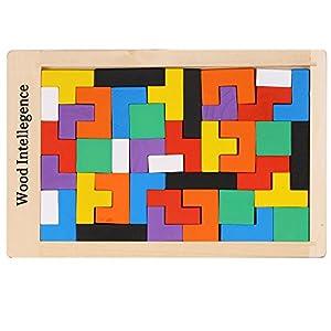 Arshiner Geometriche Blocchi di Legno Idee Regalo Tetris Holzbausteine Puzzle di Legno Colorato Natale 40 Pezzi
