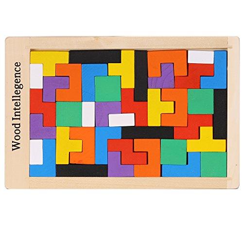 Arshiner Geometrische Tetris-Holzbausteine 40 Stücke Weihnachts-Geschnkideen
