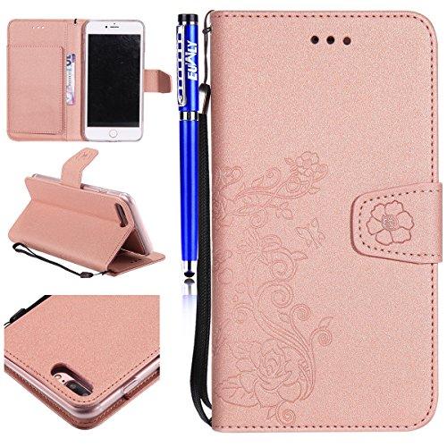 iPhone 7 Plus/iPhone 8 Plus (5.5) Custodia Cover, EUWLY Portafoglio Custodia Premium PU Leahter Protettiva Cover Case Per iPhone 7 Plus/iPhone 8 Plus (5.5), Goffratura Fiore Farfalla Modello PU Pell Oro Rosa