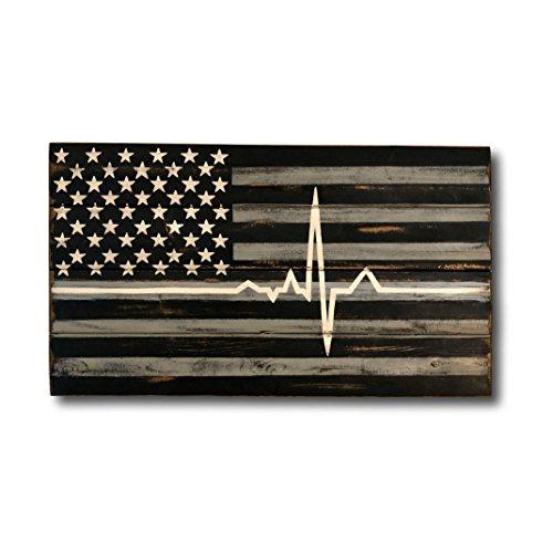 CELYCASY EMS Flagge für Sanitäter, dünne weiße Linie, Holz, EMS-Geschenk, EMS-Geschenk, EMS-Wandkunst, Hausdekoration, Herzschlag EKG