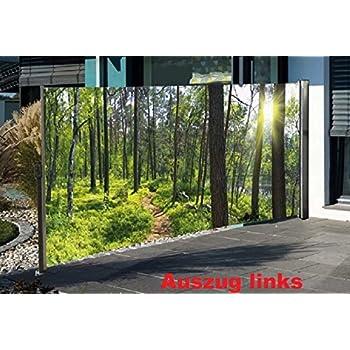 seitenmarkise mit fotodruck wald sichtschutz windschutz. Black Bedroom Furniture Sets. Home Design Ideas