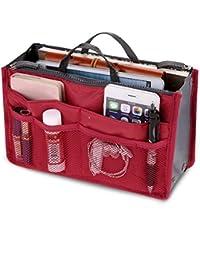 Orpio Women Multipocket Handbag Organizer, Travel Makeup Cosmetic Organizer Handbag (Red)